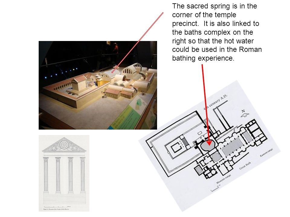 The sacred spring is in the corner of the temple precinct