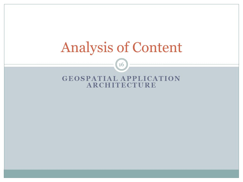 Geospatial Application Architecture