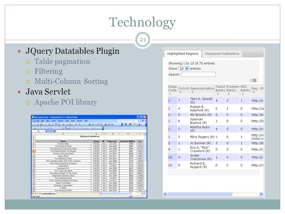 Technology JQuery Datatables Plugin Java Servlet Table pagination