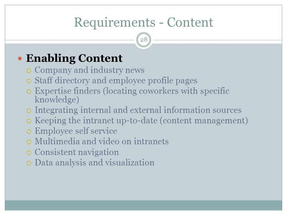 Requirements - Content