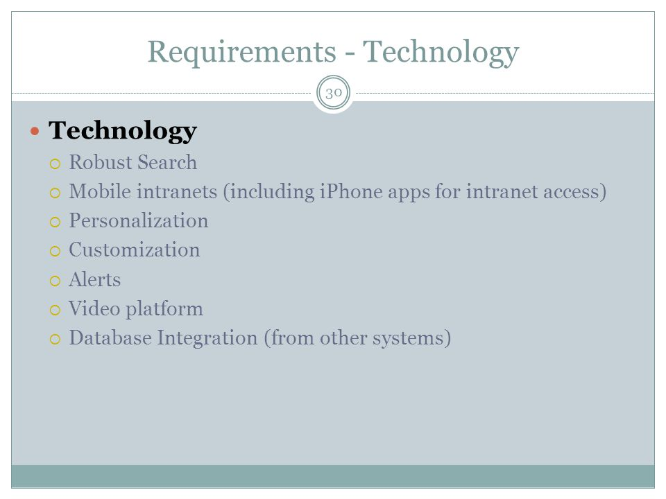 Requirements - Technology