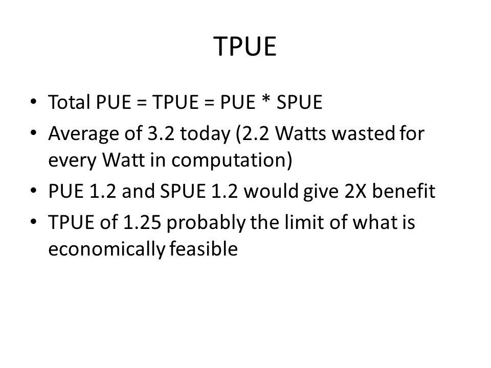 TPUE Total PUE = TPUE = PUE * SPUE