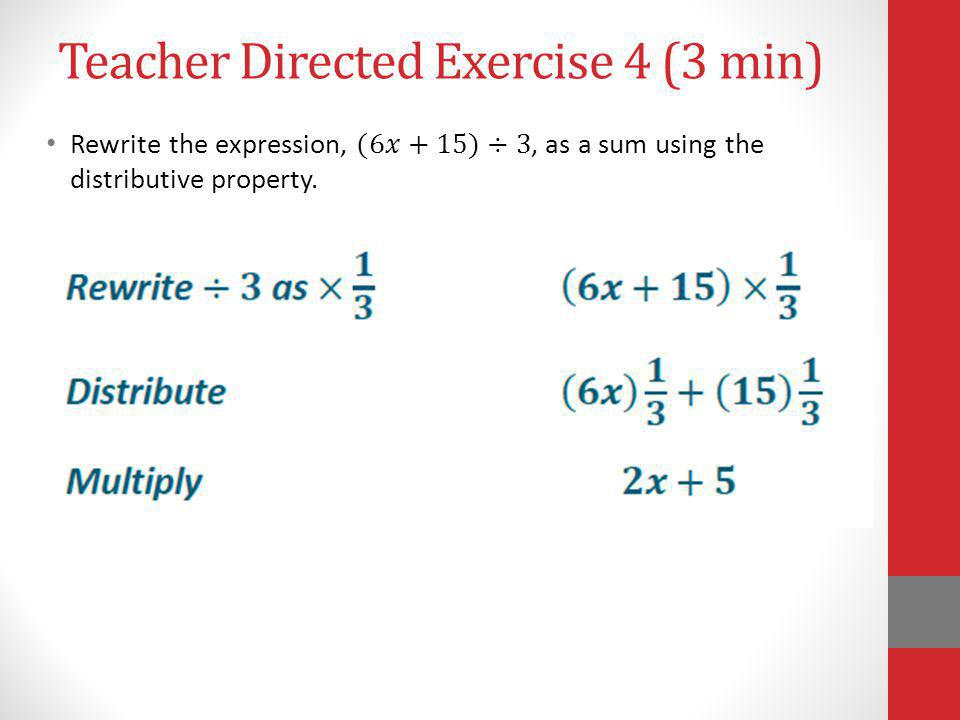 Teacher Directed Exercise 4 (3 min)