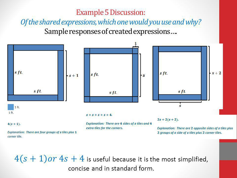 Example 5 Discussion: Of the shared expressions, which one would you use and why Sample responses of created expressions….