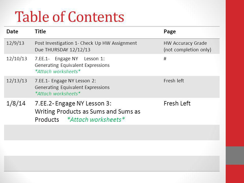Table of Contents 1/8/14 7.EE.2- Engage NY Lesson 3: