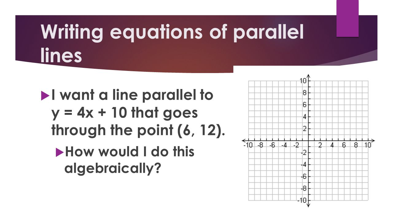 Writing equations of parallel lines
