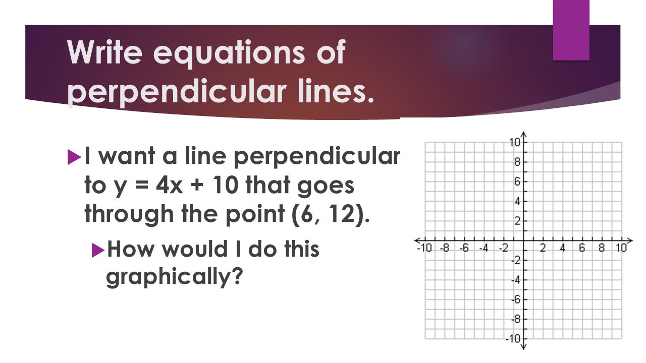 Write equations of perpendicular lines.