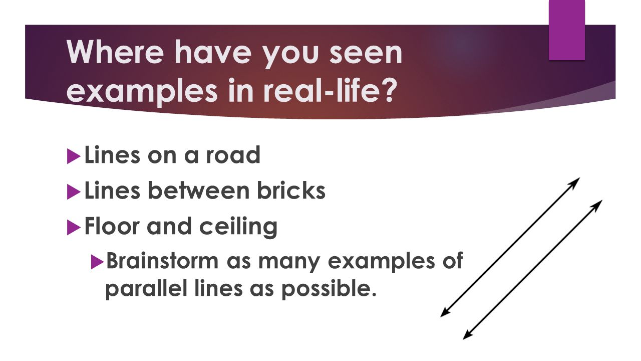 parallel and perpendicular lines in real life essay Perpendicular lines definition: perpendicular lines are lines that intersect at a right angle for example, the lines ab and cd are perpendicular lines real life examples of perpendicular lines perpendicular lines can be observed in many objects of daily use  parallel and perpendicular lines practice now practice math with fun games.