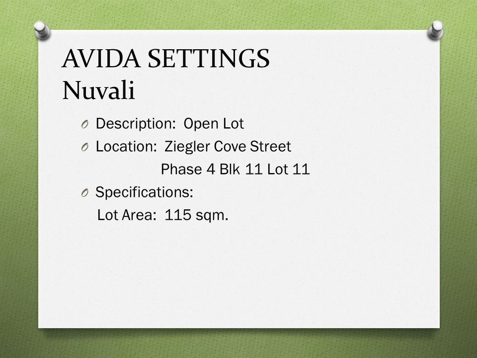 AVIDA SETTINGS Nuvali Description: Open Lot