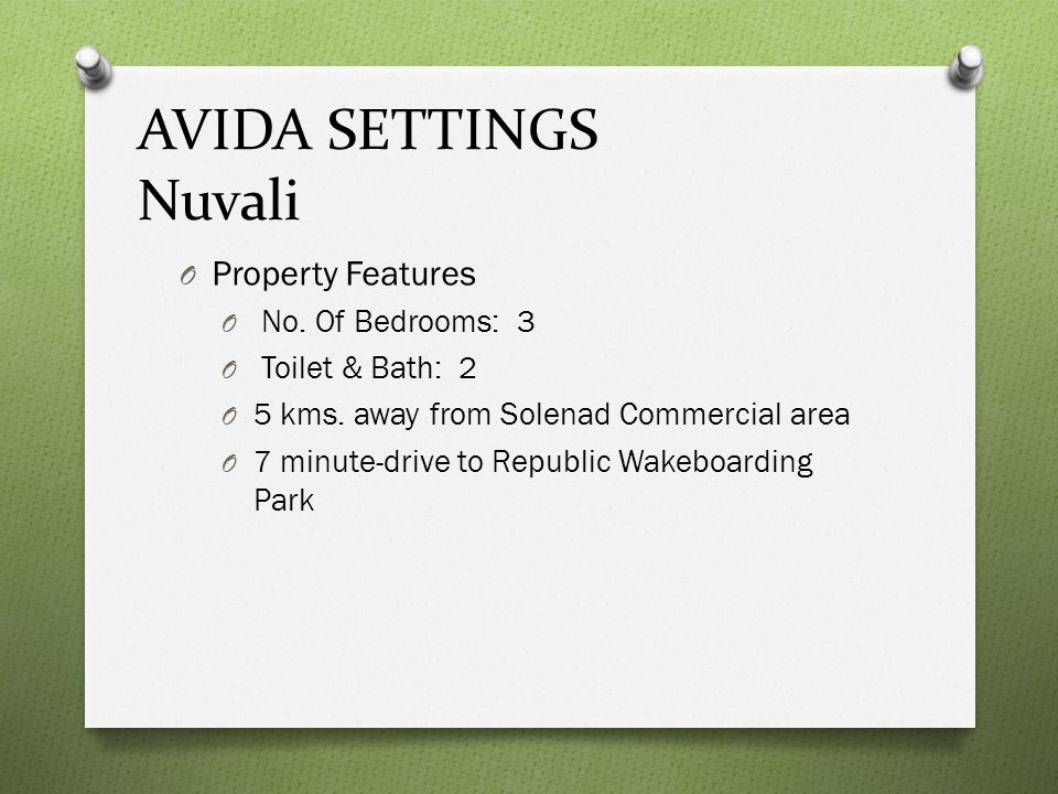 AVIDA SETTINGS Nuvali Property Features No. Of Bedrooms: 3
