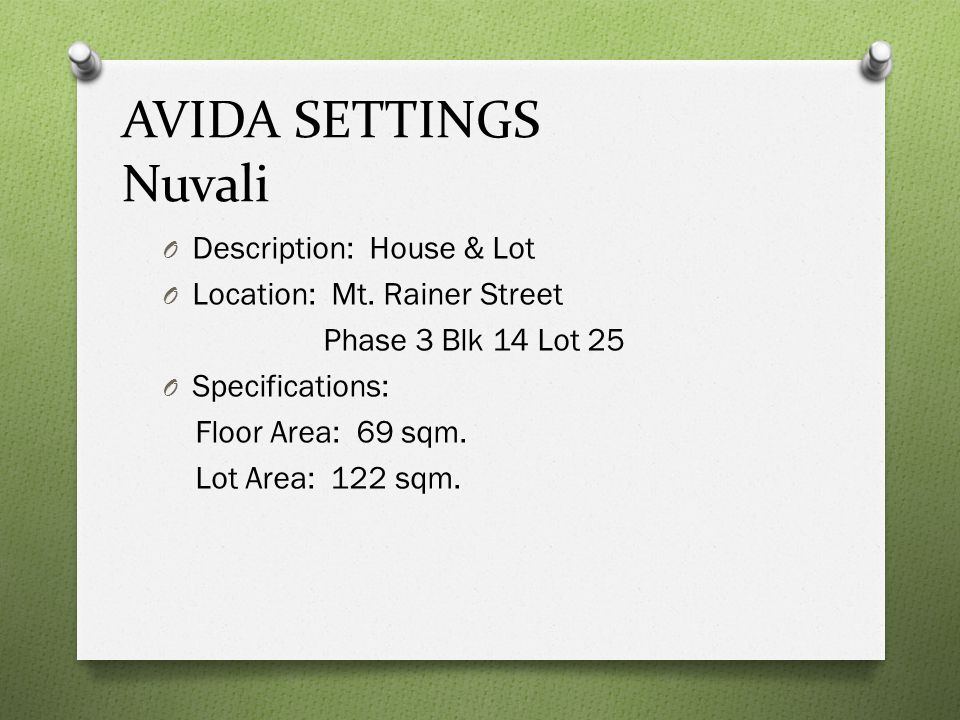 AVIDA SETTINGS Nuvali Description: House & Lot