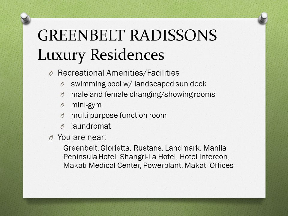 GREENBELT RADISSONS Luxury Residences