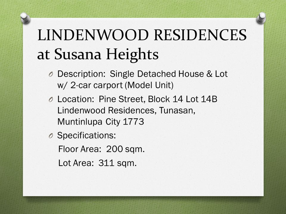 LINDENWOOD RESIDENCES at Susana Heights