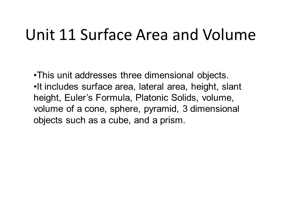 Unit 11 Surface Area and Volume