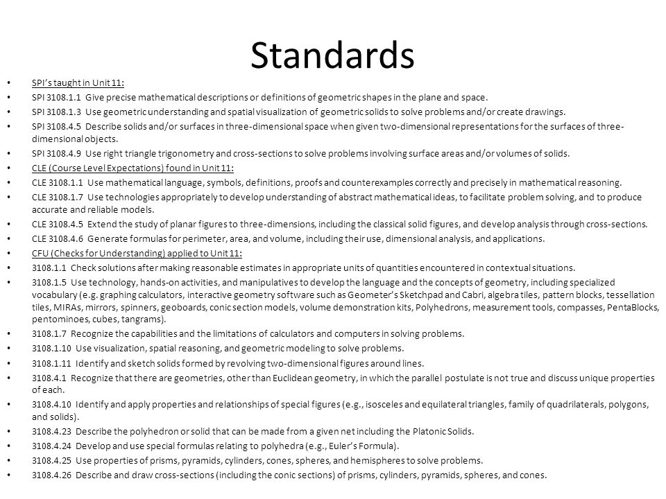 Standards SPI's taught in Unit 11: