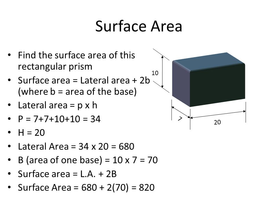 Surface Area Find the surface area of this rectangular prism