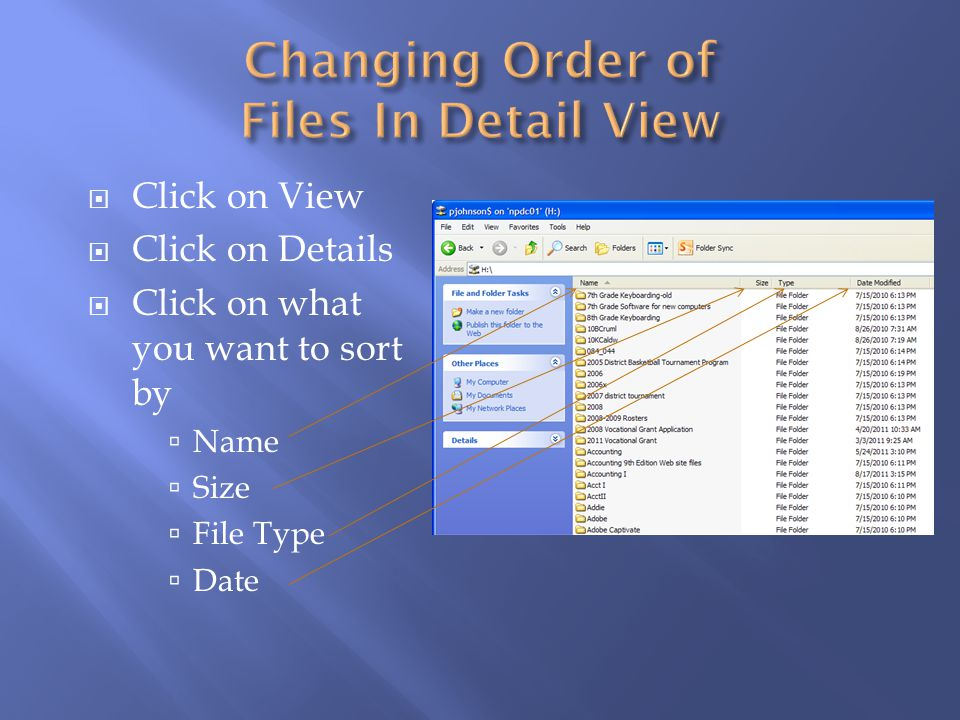 Changing Order of Files In Detail View