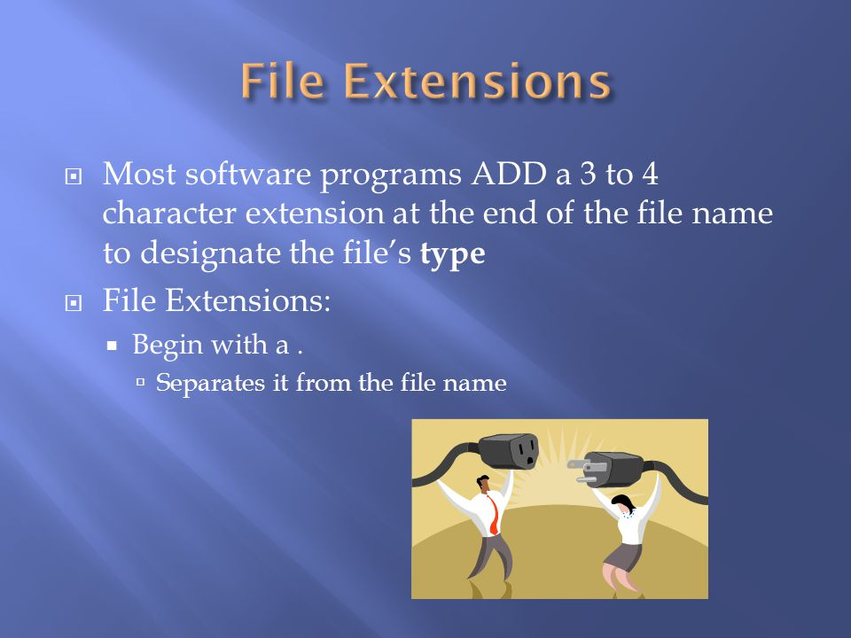 File Extensions Most software programs ADD a 3 to 4 character extension at the end of the file name to designate the file's type.