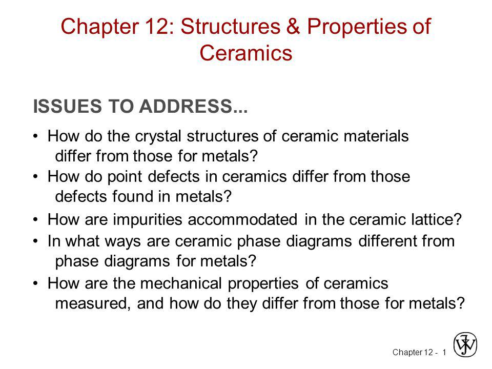 Chapter 12: Structures & Properties of Ceramics