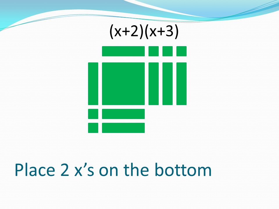 (x+2)(x+3) Place 2 x's on the bottom
