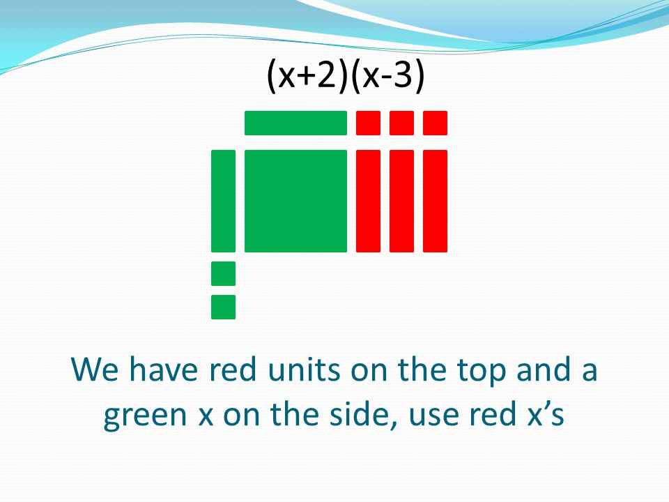 We have red units on the top and a green x on the side, use red x's