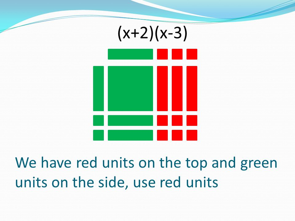 (x+2)(x-3) We have red units on the top and green units on the side, use red units