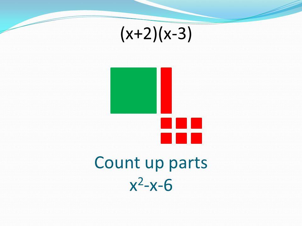 (x+2)(x-3) Count up parts x2-x-6