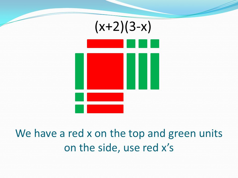 We have a red x on the top and green units on the side, use red x's