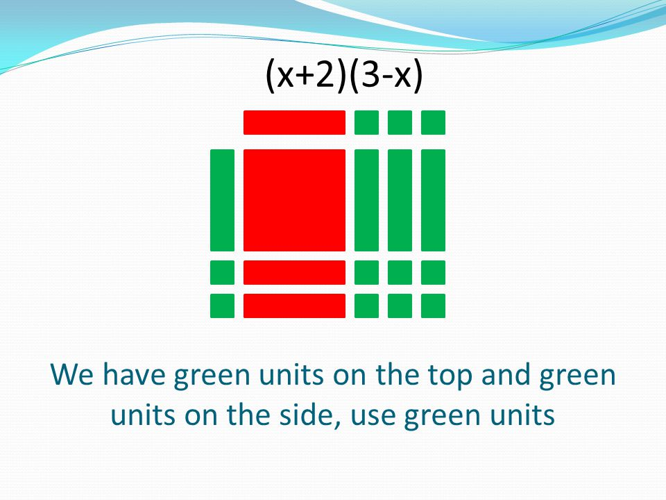 (x+2)(3-x) We have green units on the top and green units on the side, use green units