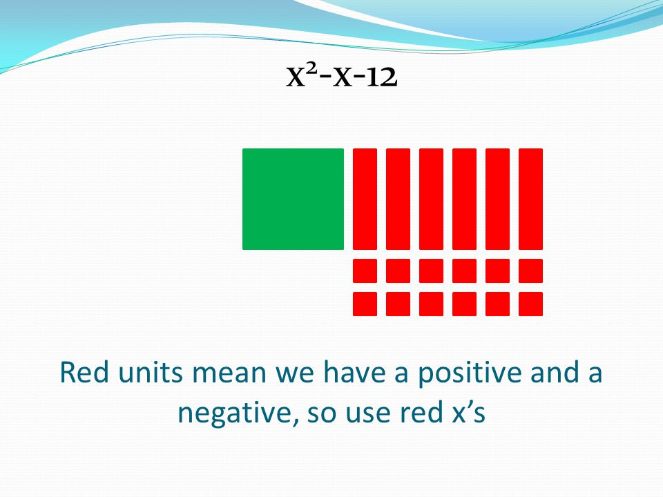 Red units mean we have a positive and a negative, so use red x's