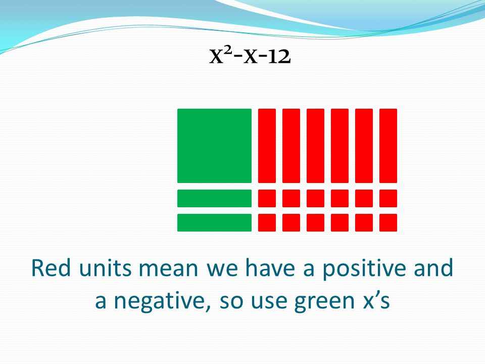Red units mean we have a positive and a negative, so use green x's
