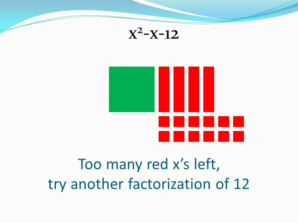 Too many red x's left, try another factorization of 12