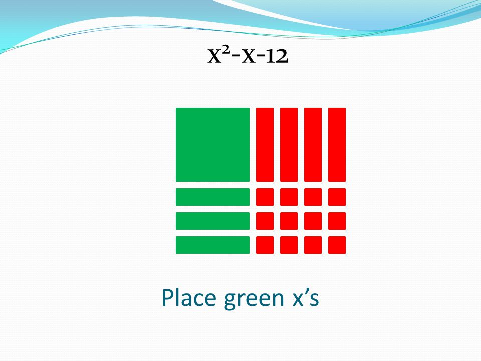 x2-x-12 Place green x's