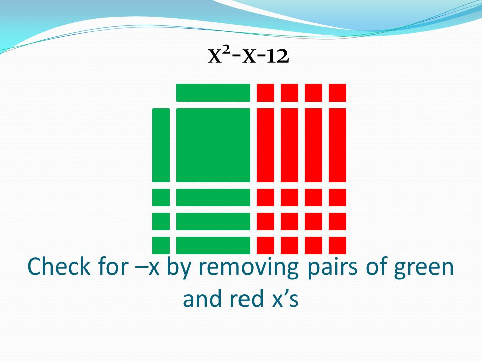 Check for –x by removing pairs of green and red x's