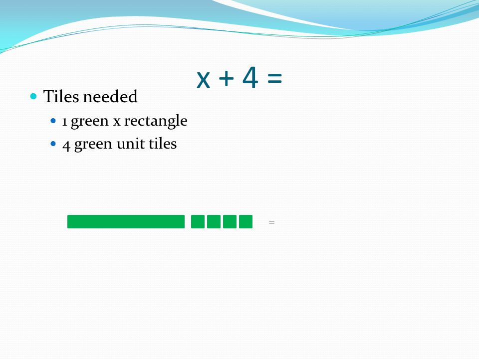 x + 4 = Tiles needed 1 green x rectangle 4 green unit tiles =