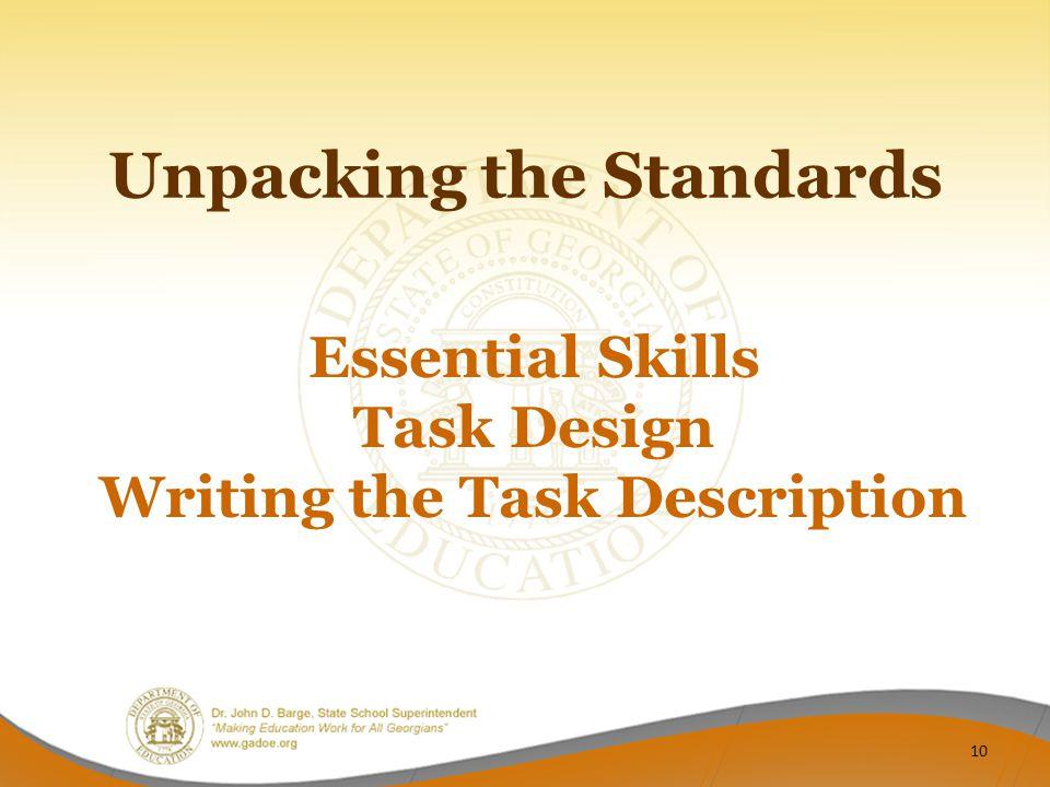 Essential Skills Task Design Writing the Task Description