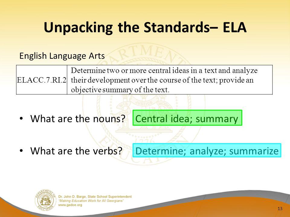 Unpacking the Standards– ELA