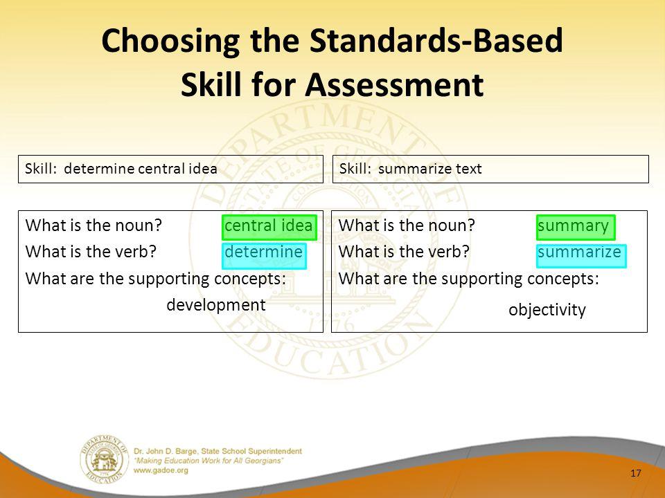 Choosing the Standards-Based Skill for Assessment