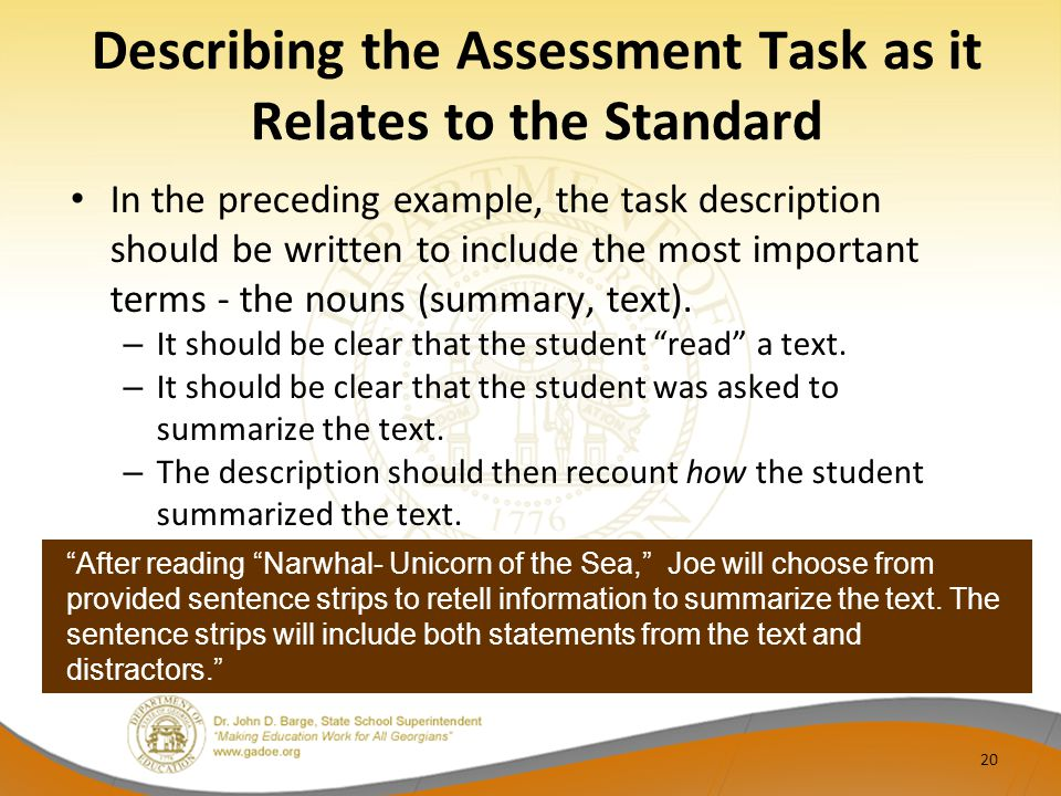 Describing the Assessment Task as it Relates to the Standard