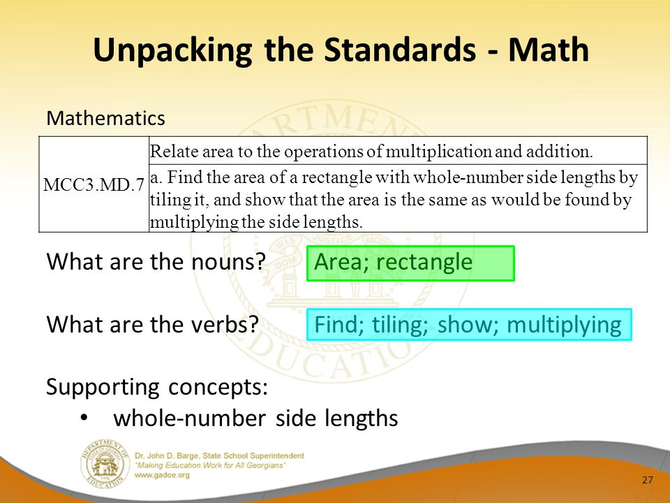 Unpacking the Standards - Math