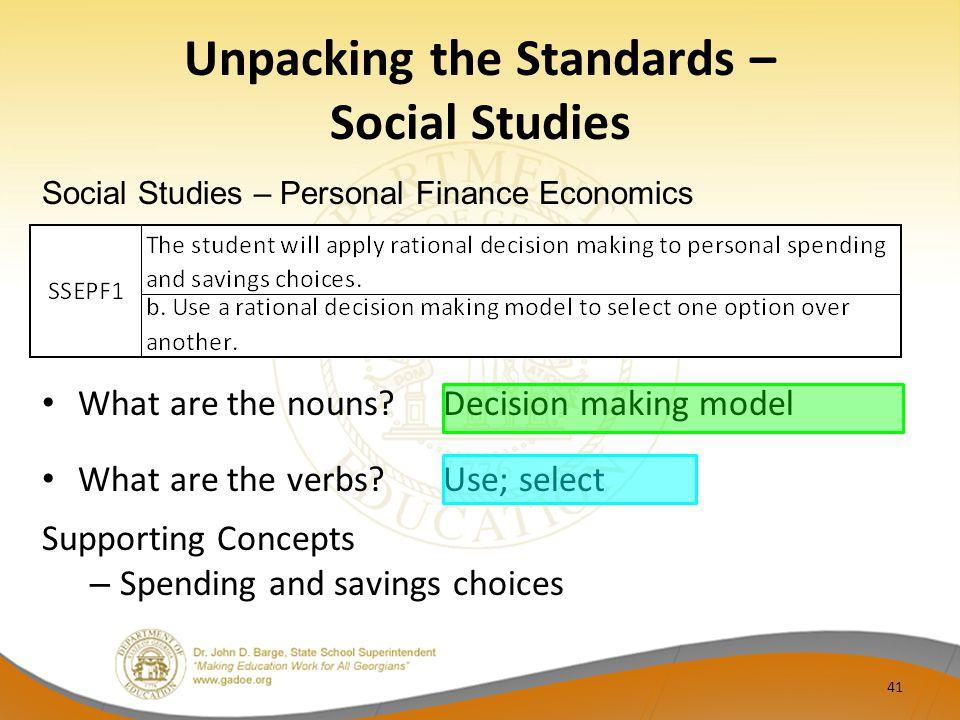 Unpacking the Standards – Social Studies