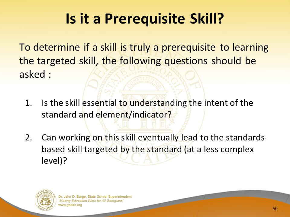 Is it a Prerequisite Skill