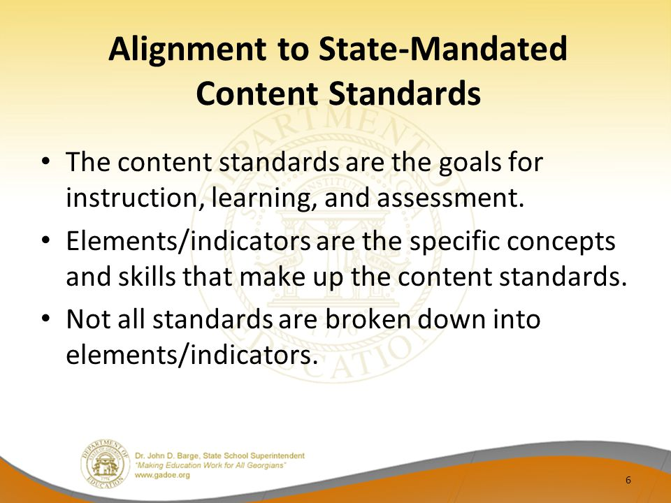 Alignment to State-Mandated Content Standards