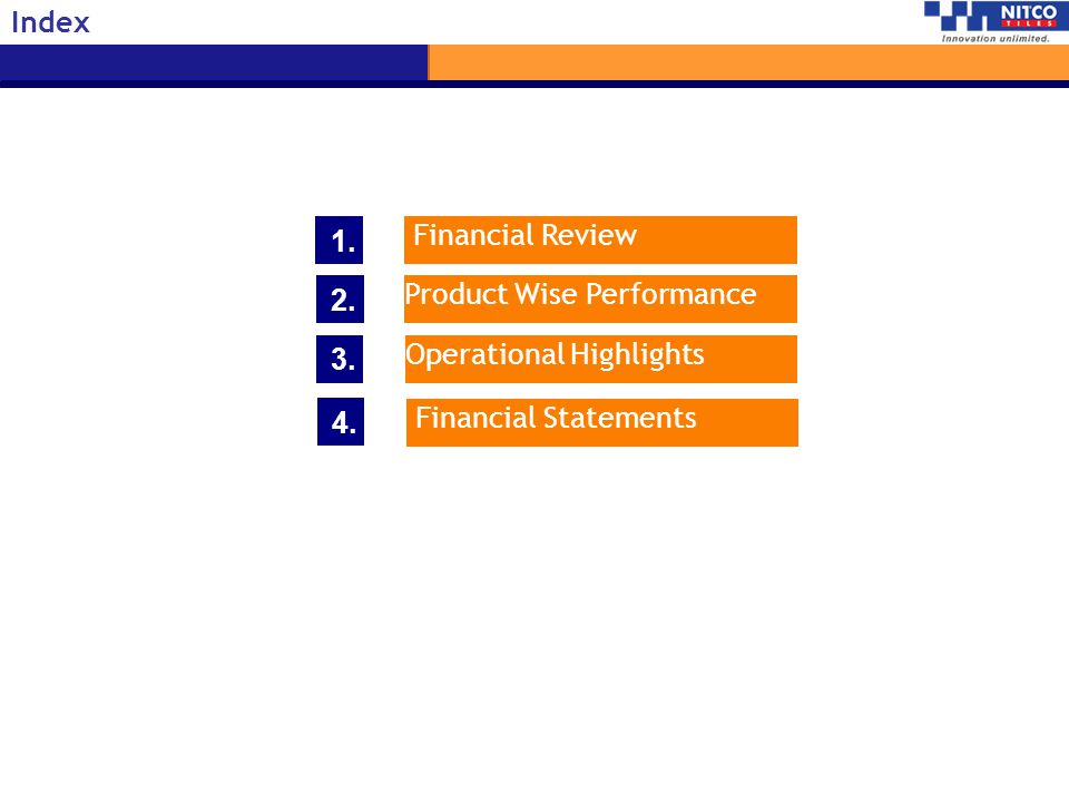 Index 1. Financial Review. 2. Product Wise Performance.