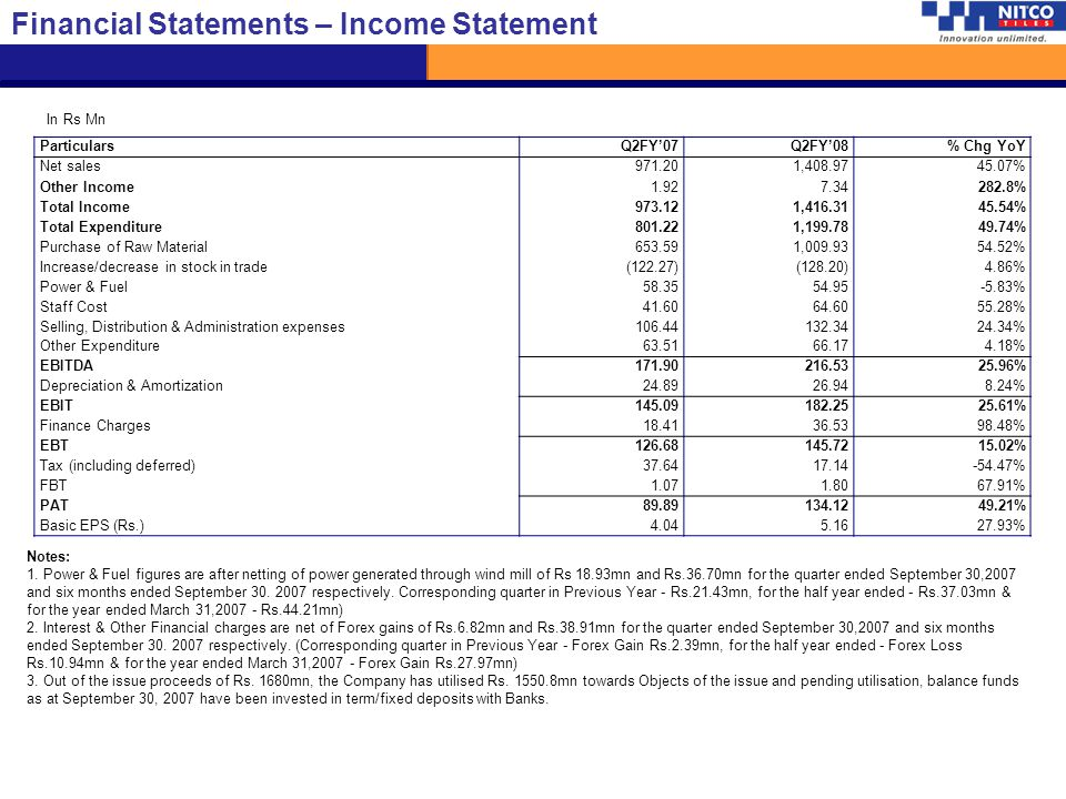 Financial Statements – Income Statement
