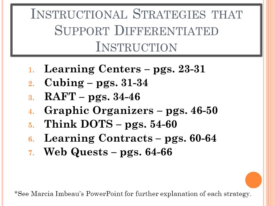 Instructional Strategies that Support Differentiated Instruction