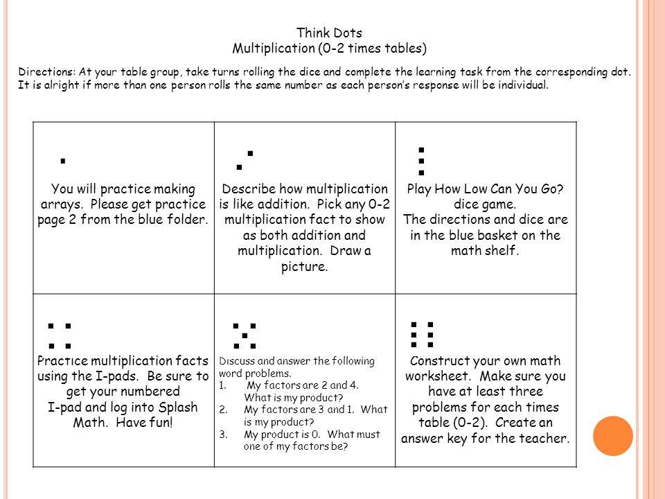 Multiplication (0-2 times tables)