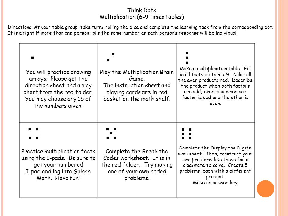 Multiplication (6-9 times tables)
