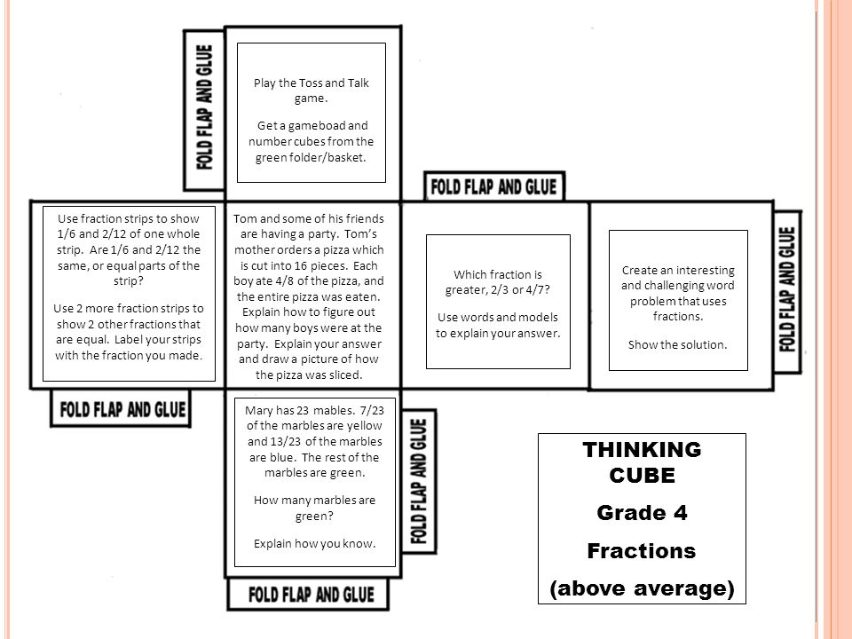 THINKING CUBE Grade 4 Fractions (above average)