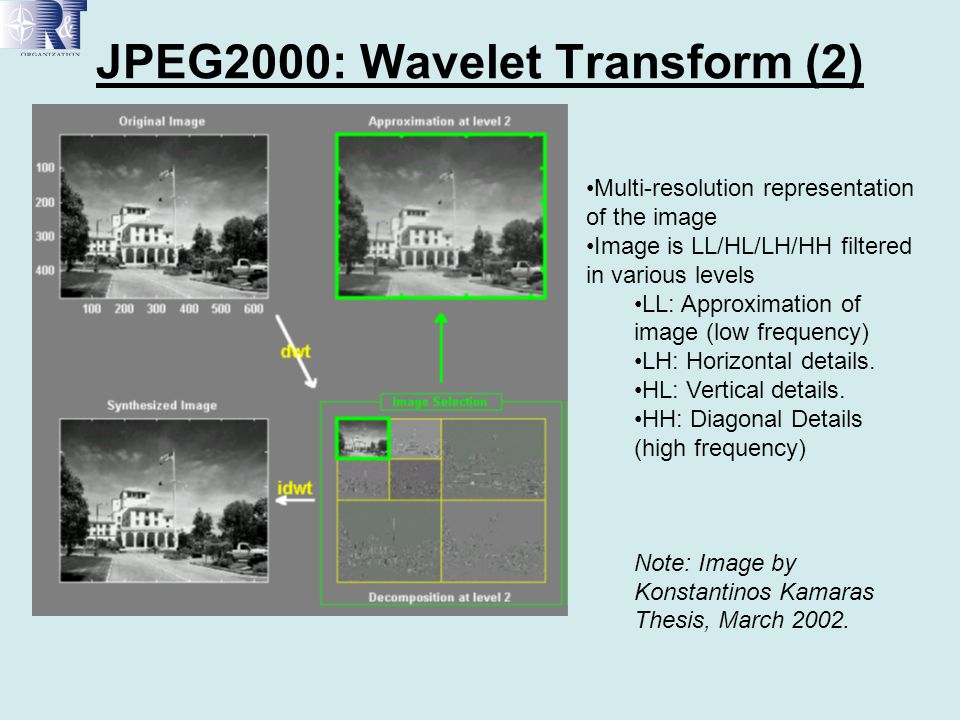 JPEG2000: Wavelet Transform (2)